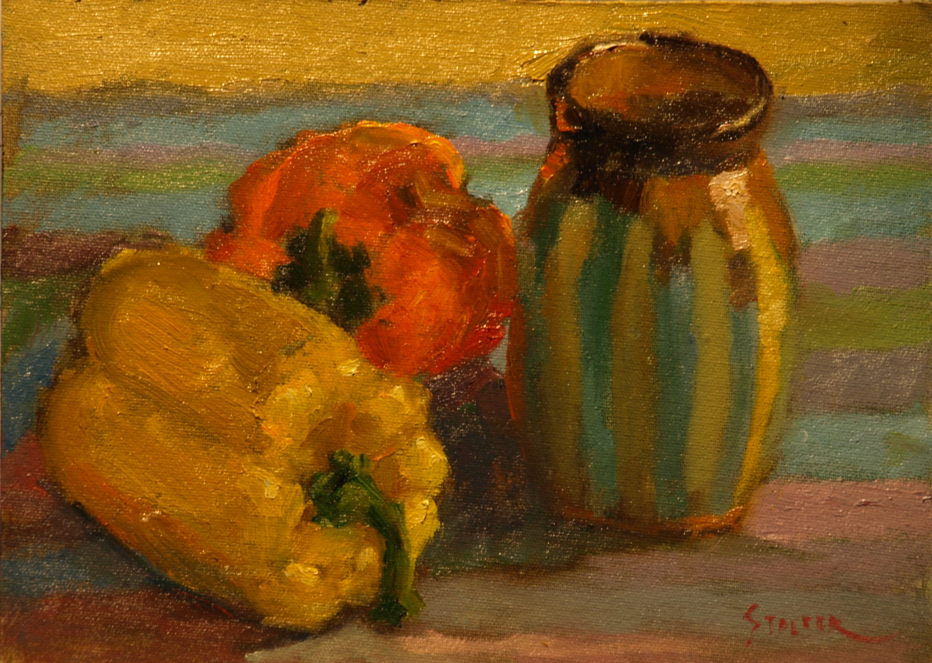 Two Peppers, Oil on Canvas on Panel, 9 x 12 Inches, by Richard Stalter, $225