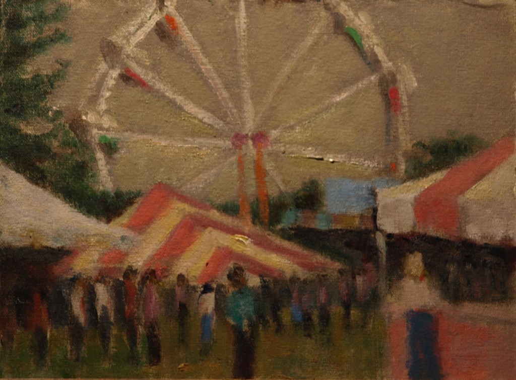 Ferris Wheel, Oil on Canvas on Panel, 9 x 12 Inches, by Richard Stalter, $225