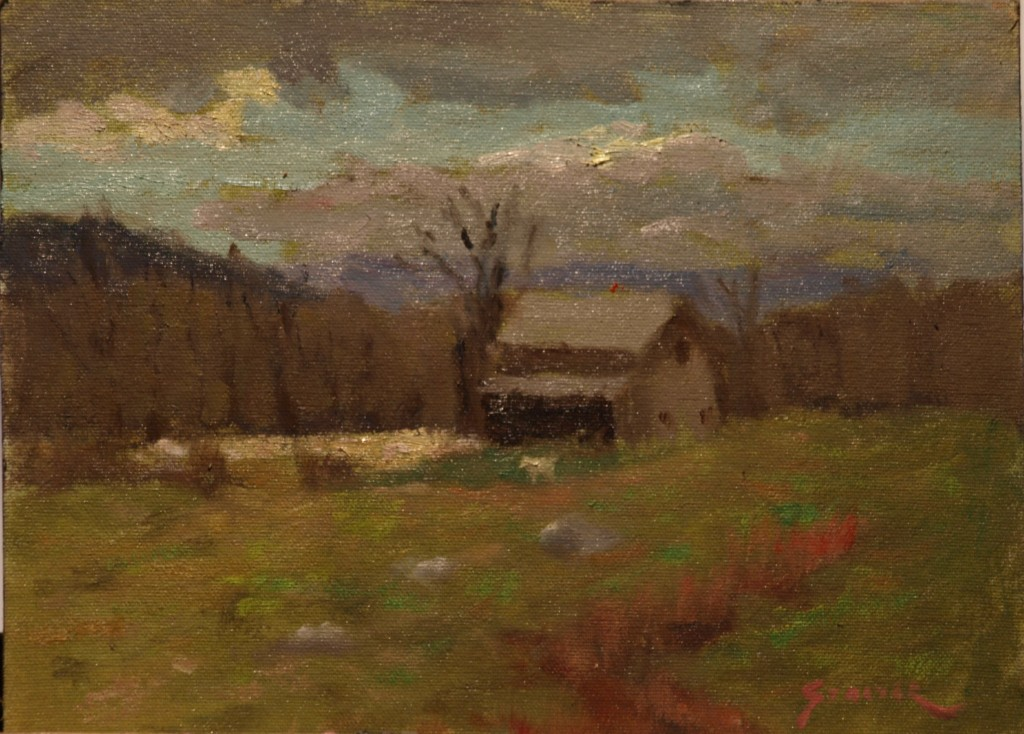 Horse Barn and Pasture, Oil on Canvas on Panel, 9 x 12 Inches, by Richard Stalter, $225