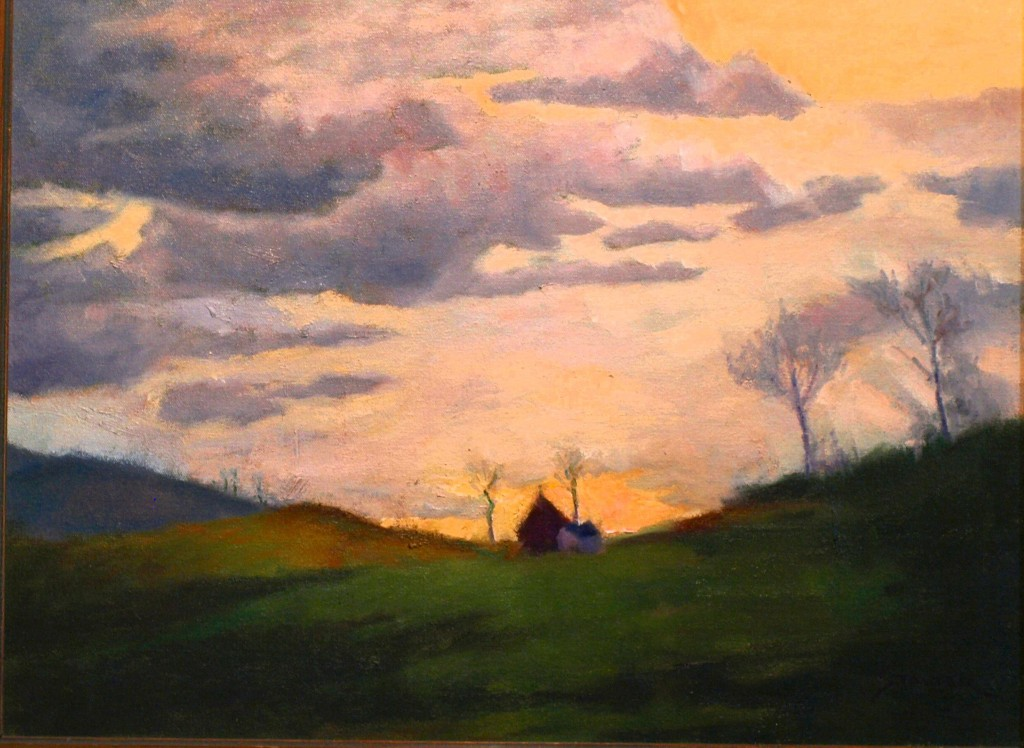 Farm on the Hill, Oil on Canvas, 20 x 24 Inches, by Richard Stalter, $750