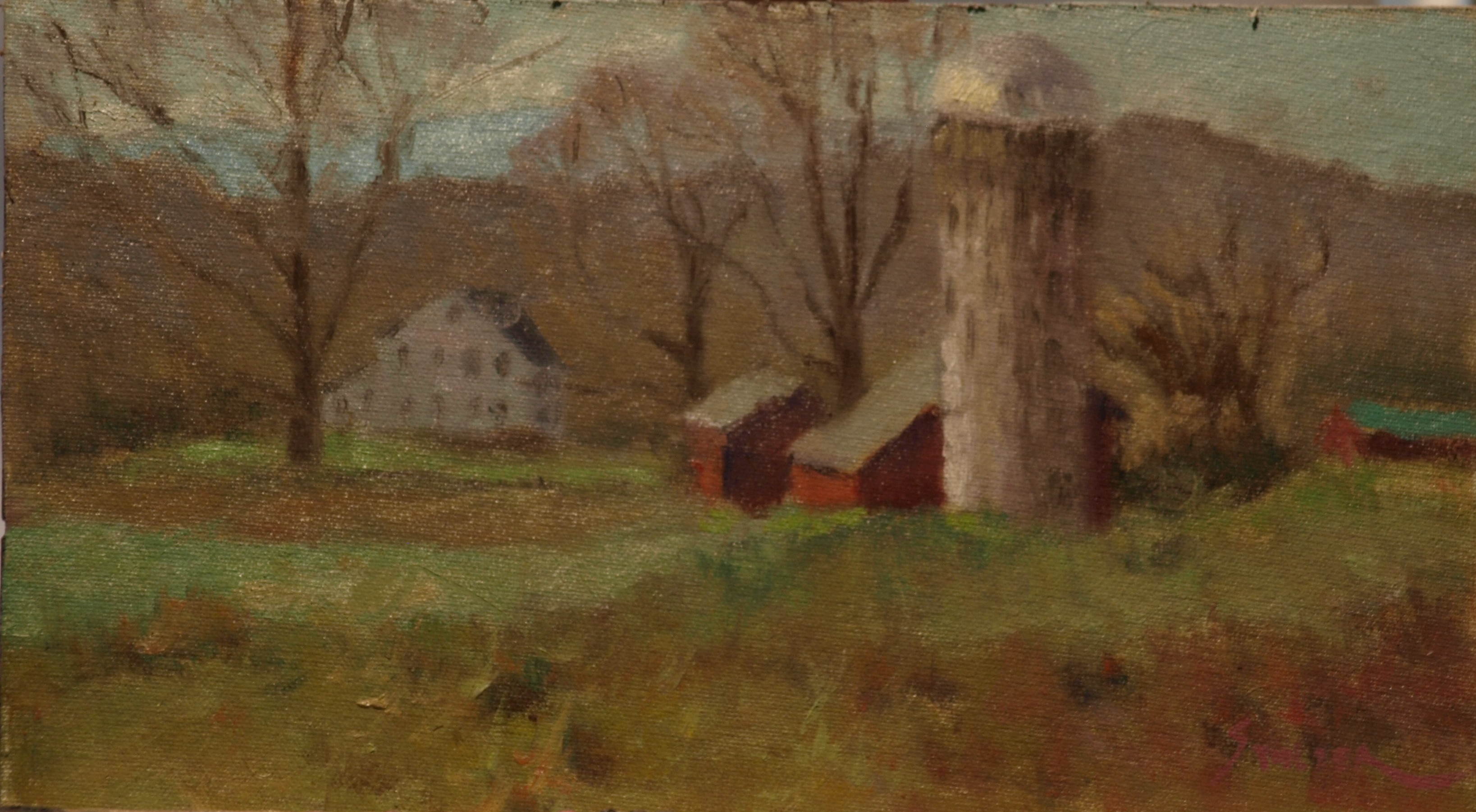 Lindburgh's Farm Buildings, Oil on Canvas on Panel, 8 x 14 Inches, by Richard Stalter, $225
