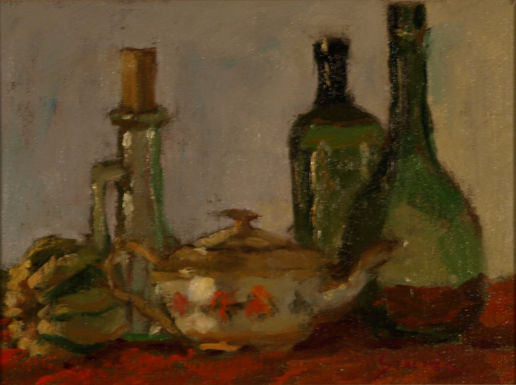 Still Life - Flowered Teapot, Oil on Canvas on Panel, 9 x 12 Inches, by Richard Stalter, $225