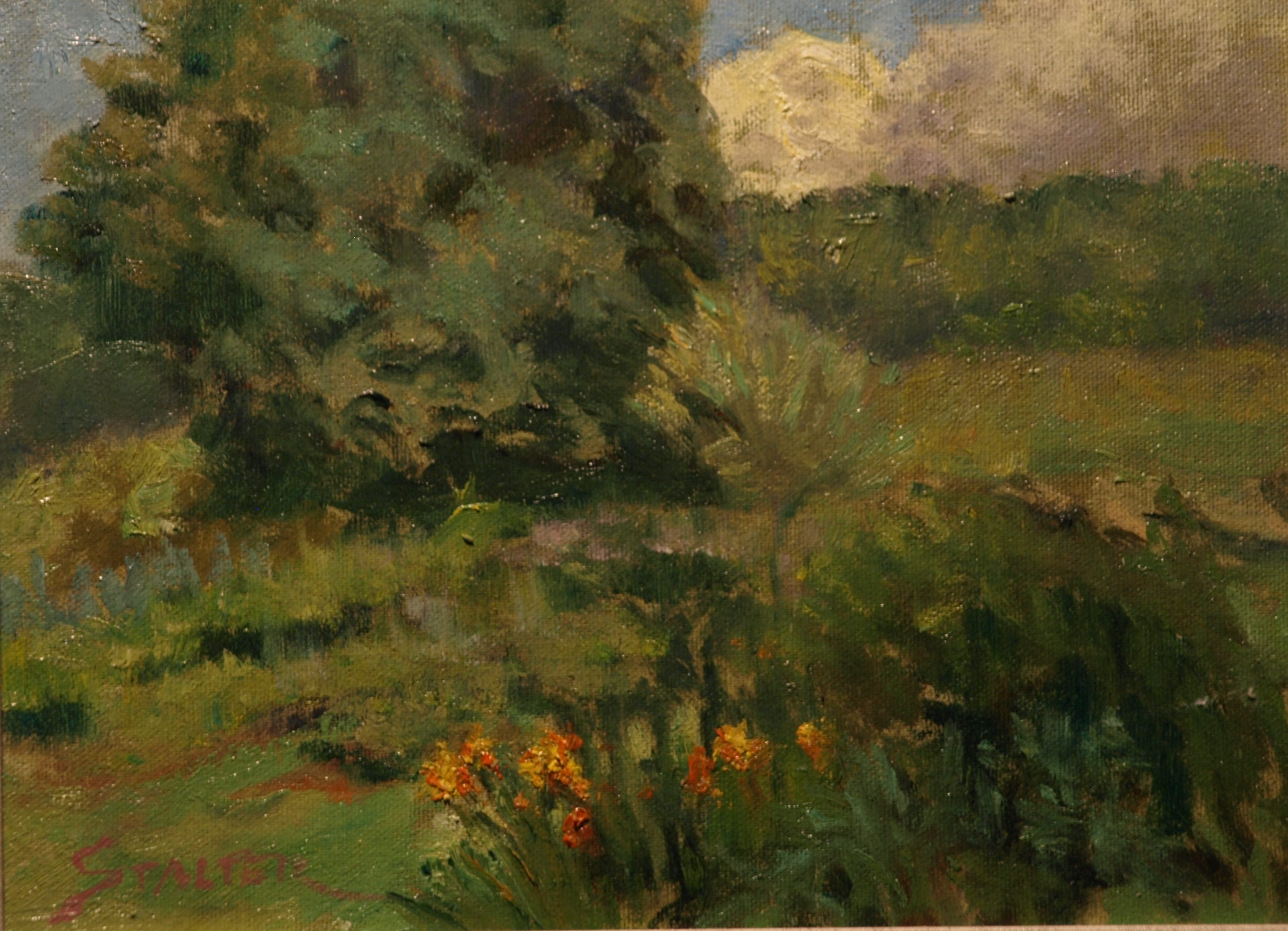 Daylillies, Oil on Canvas on Panel, 9 x 12 Inches, by Richard Stalter, $225
