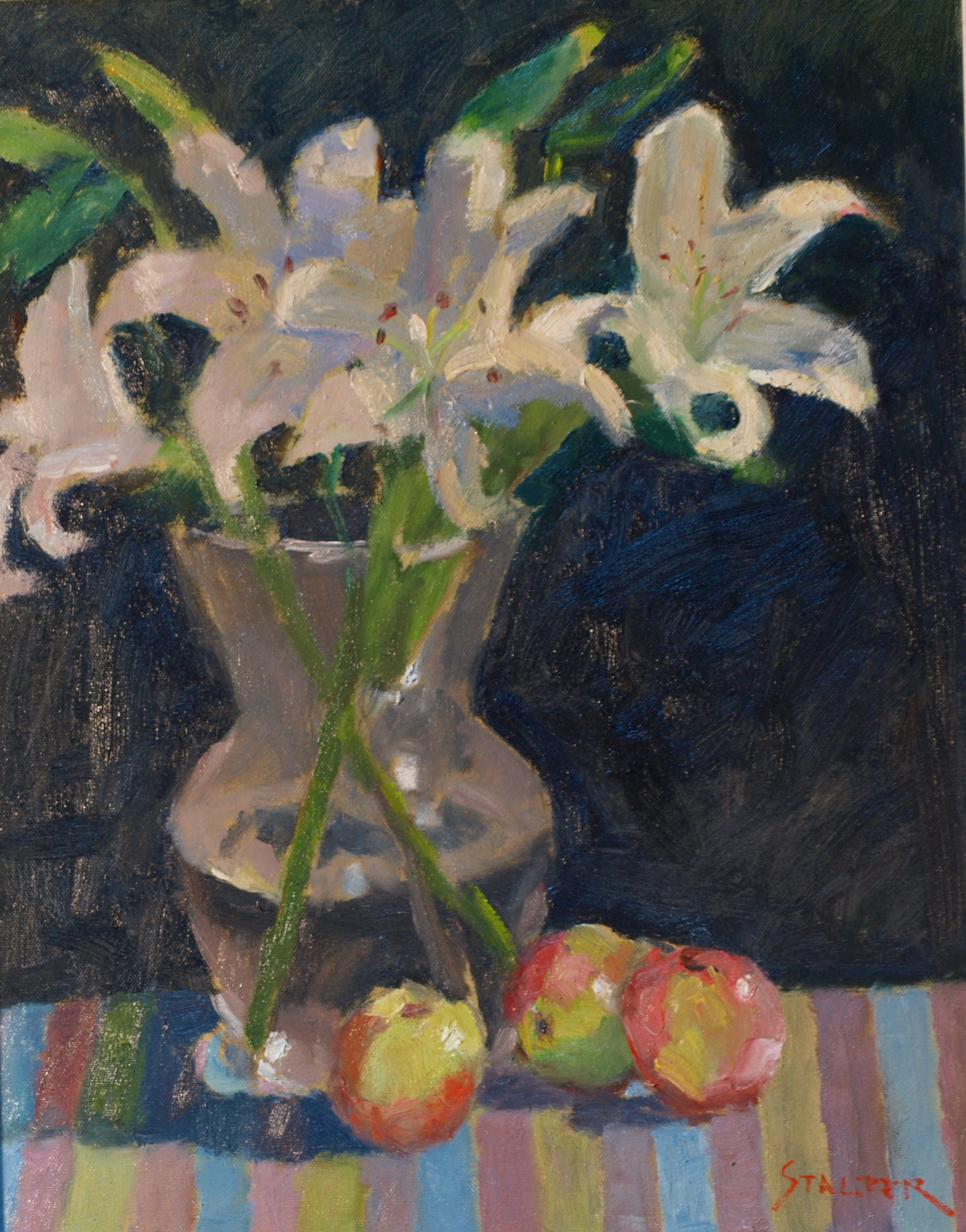 Lilies and Apples, Oil on Canvas, 20 x 16 Inches, by Richard Stalter, $450