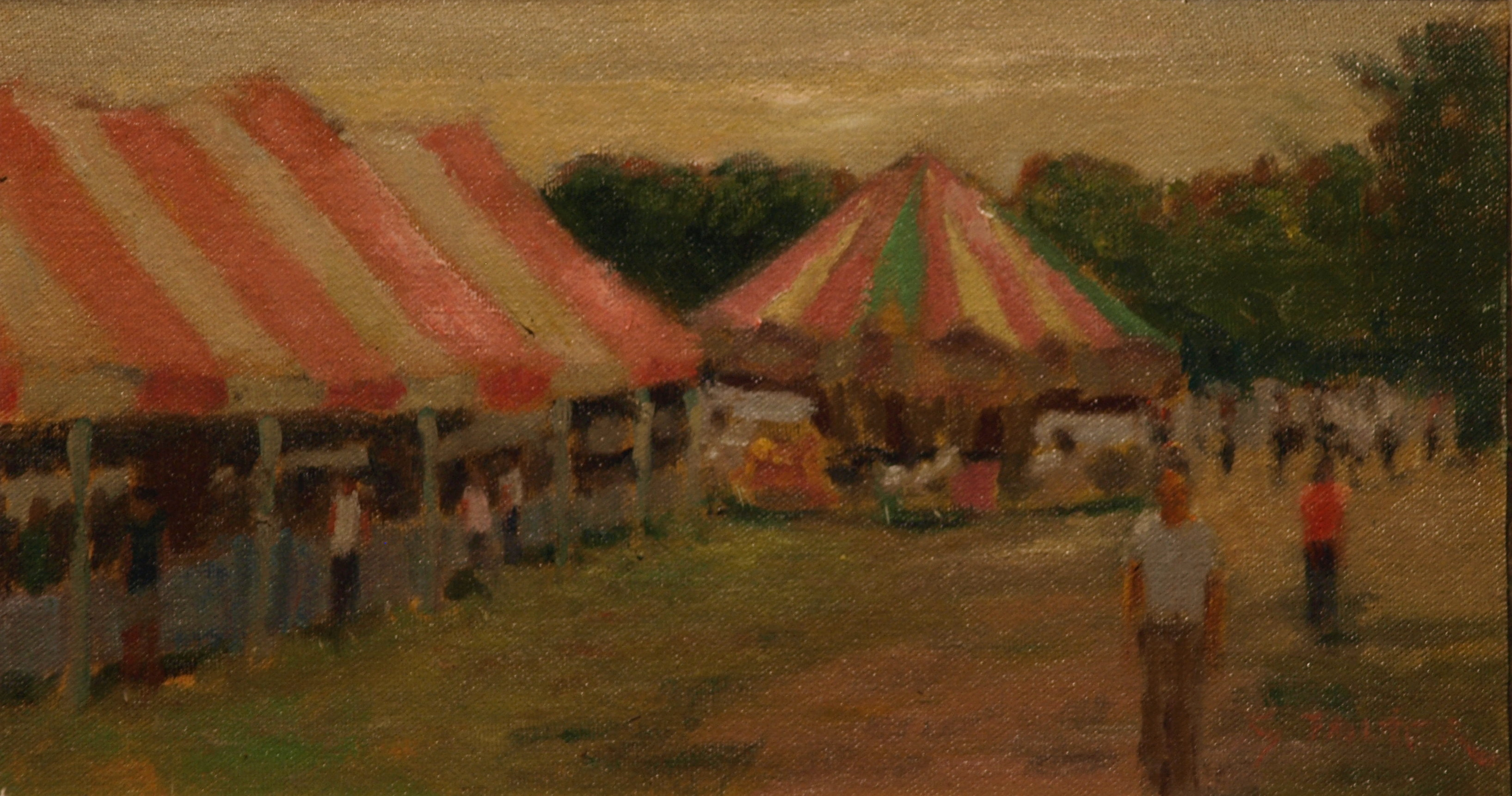 Merry-Go-Round, Oil on Canvas on Panel, 8 x 14 Inches, by Richard Stalter, $225