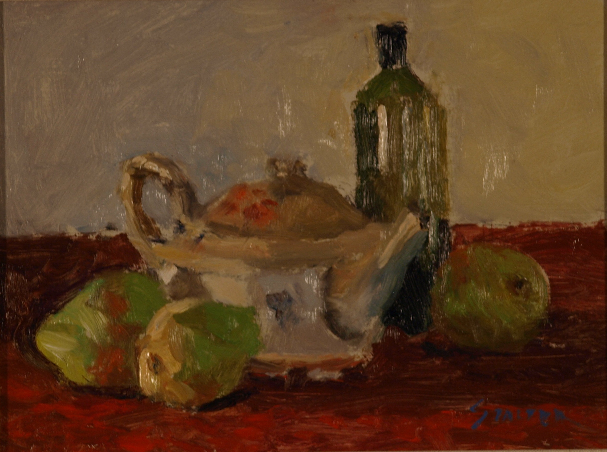 Still Life - Three Pairs, Oil on Canvas on Panel, 9 x 12 Inches, by Richard Stalter, $225