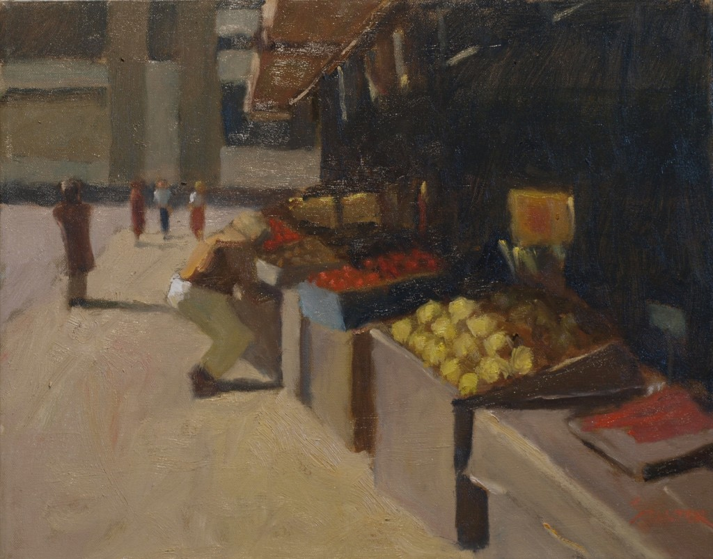 Buying Fruit, Oil on Canvas, 16 x 20 Inches, by Richard Stalter, $550