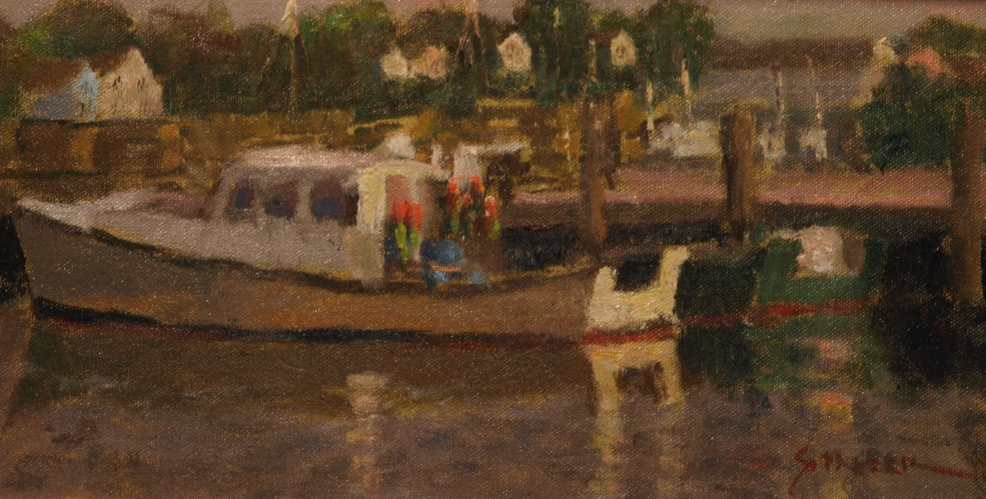 Fishing Boat - Stonington, Oil on Canvas on Panel, 8 x 14 Inches, by Richard Stalter, $225