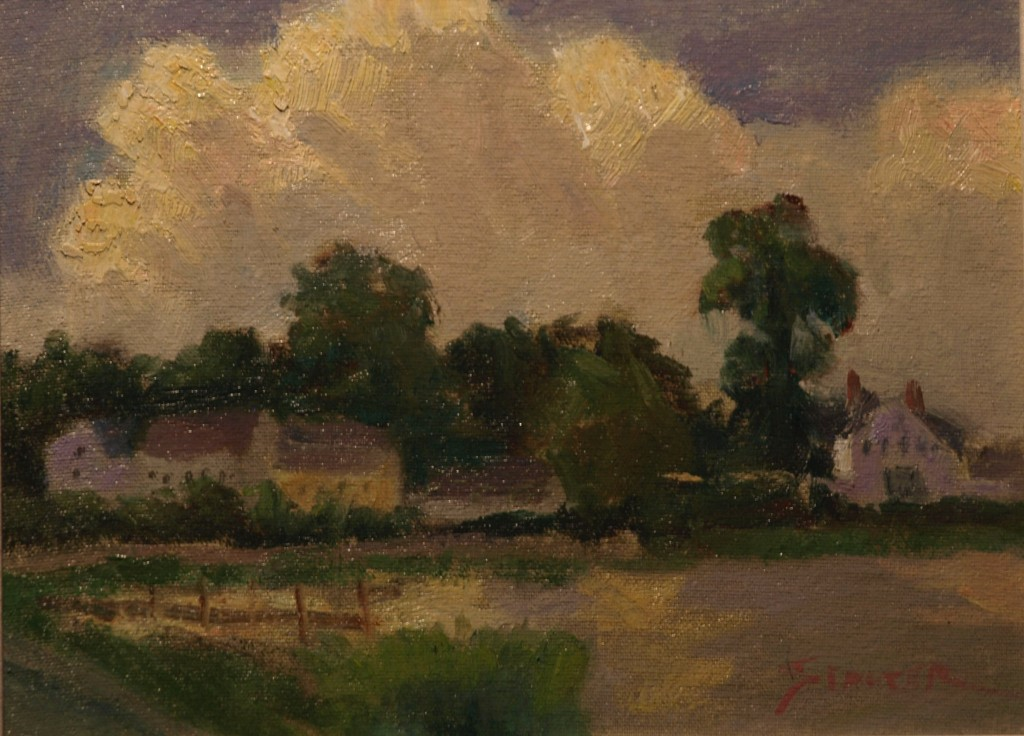 Late Afternoon Clouds, Oil on Canvas on Panel, 9 x 12 Inches, by Richard Stalter, $225