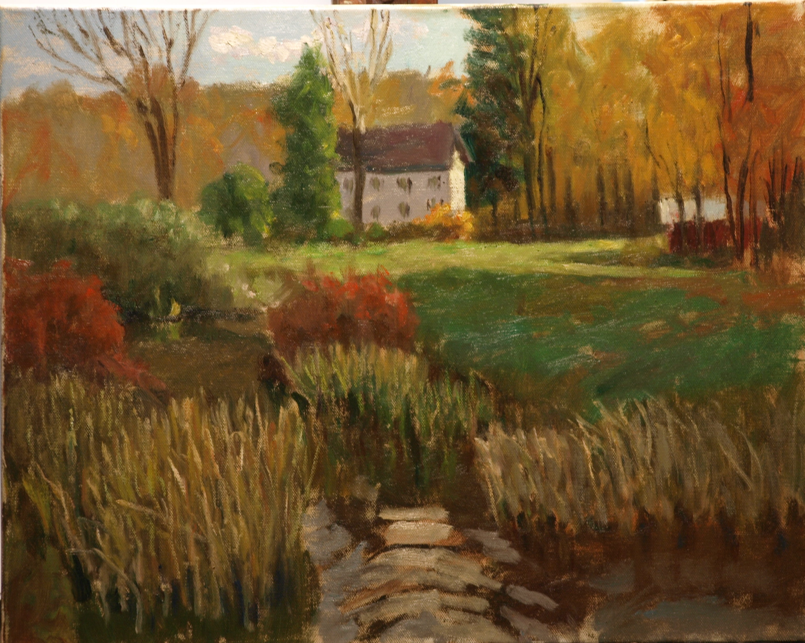 Brook in South Kent, Oil on Canvas, 16 x 20 Inches, by Richard Stalter, $650