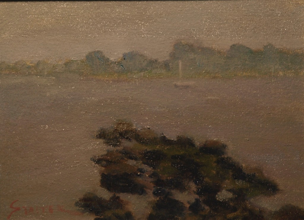 Foggy Day - Stonington, Oil on Canvas on Panel, 9 x 12 Inches, by Richard Stalter, $225
