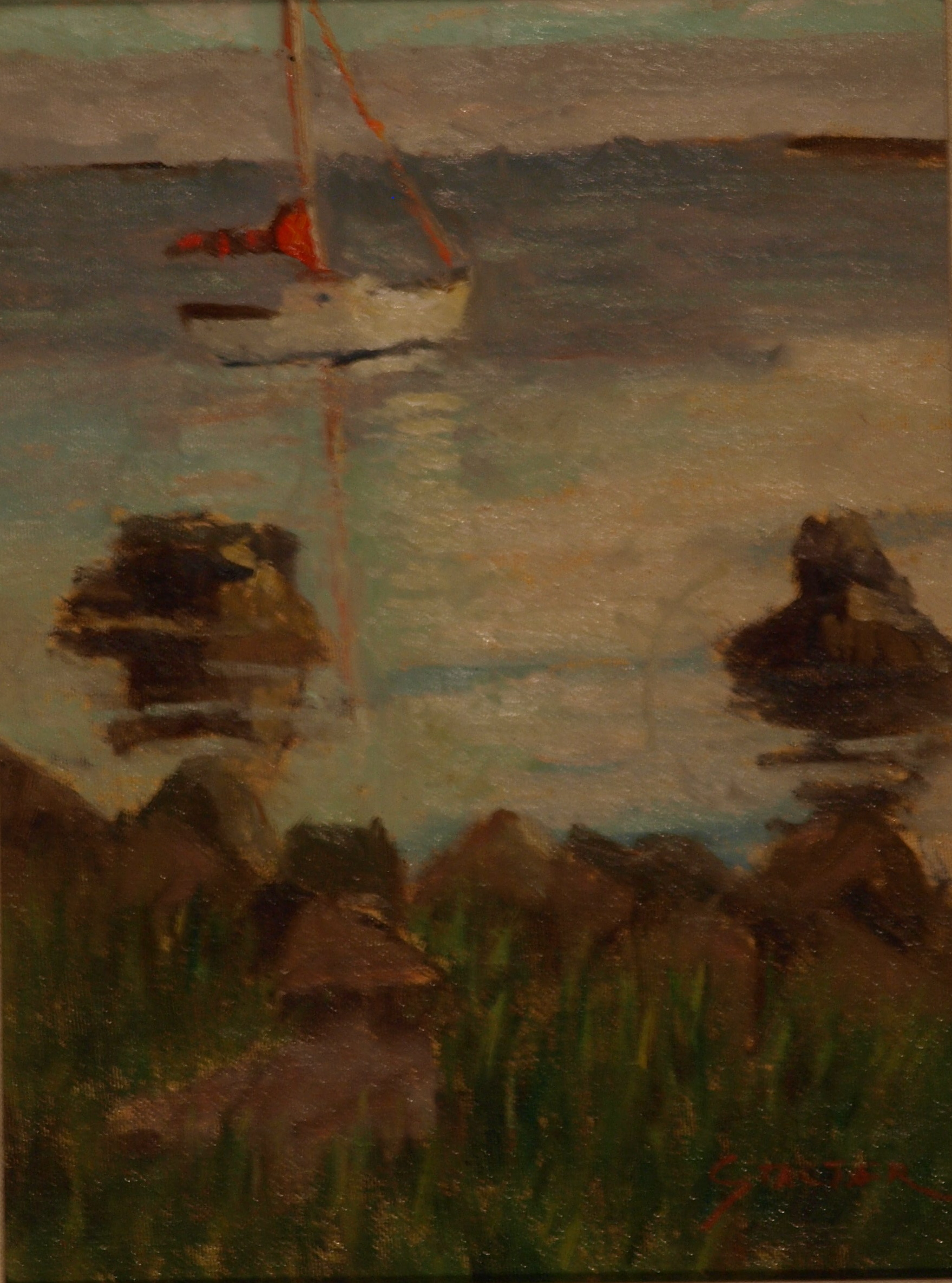 Red Sail, Oil on Canvas on Panel, 12 x 9 Inches, by Richard Stalter, $225