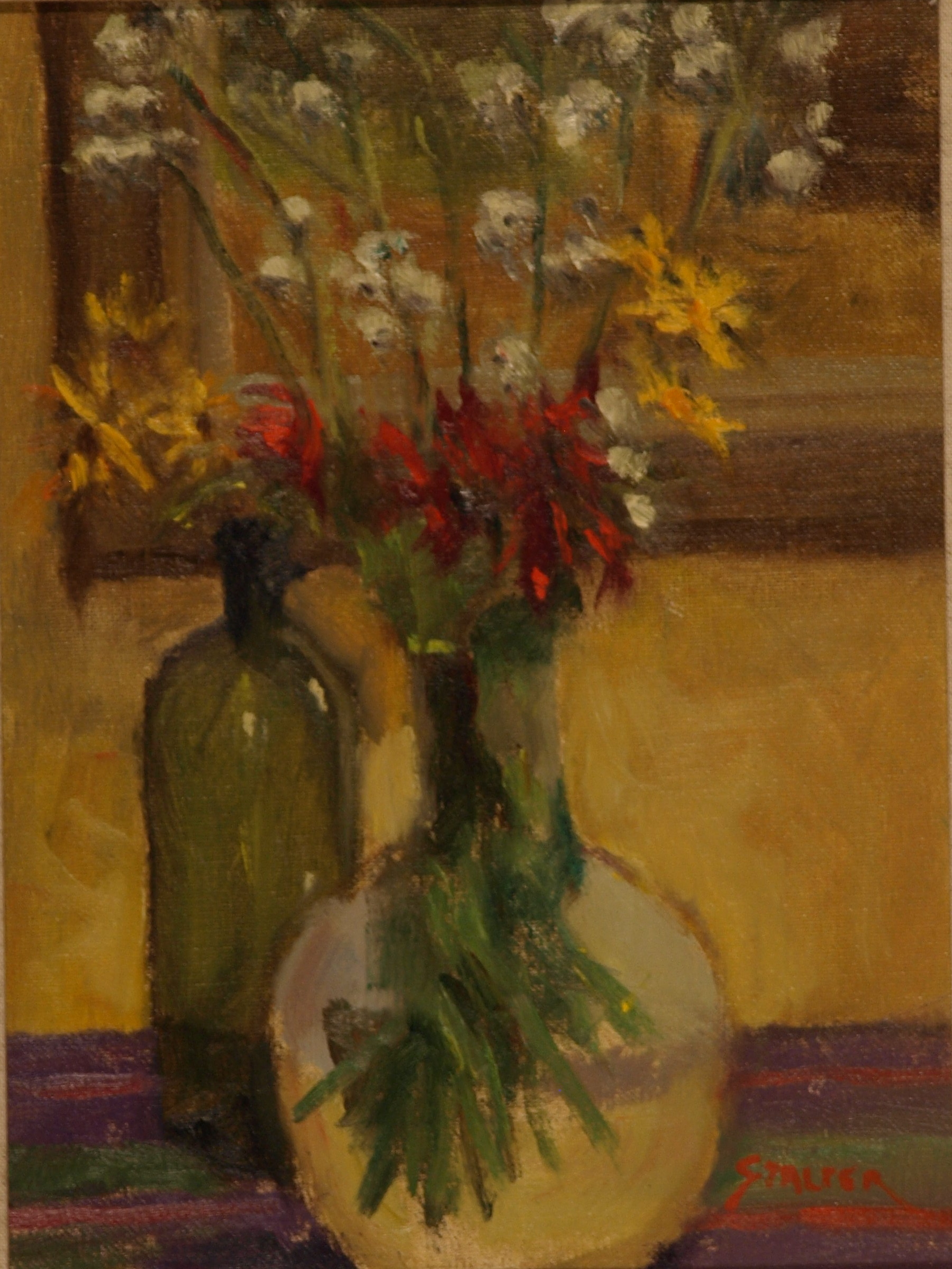Still Life - Green Bottle, Oil on Canvas on Panel, 12 x 9 Inches, by Richard Stalter, $225