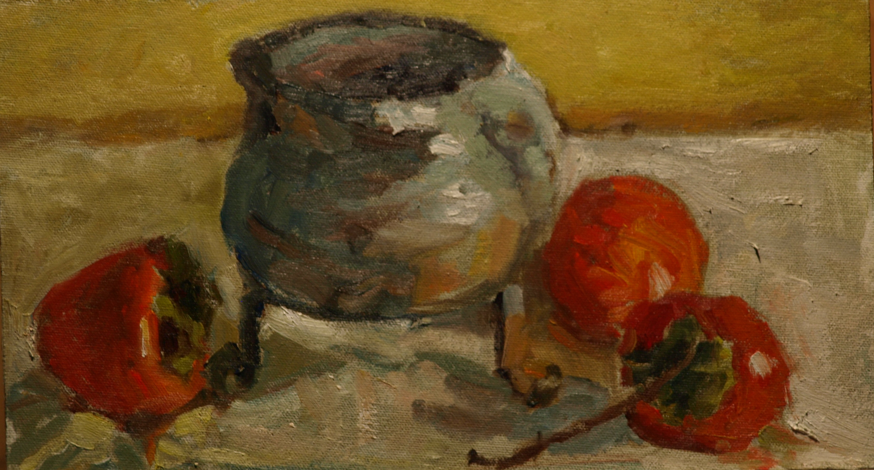 Chinese Pot, Oil on Canvas on Panel, 8 x 14 Inches, by Richard Stalter, $225