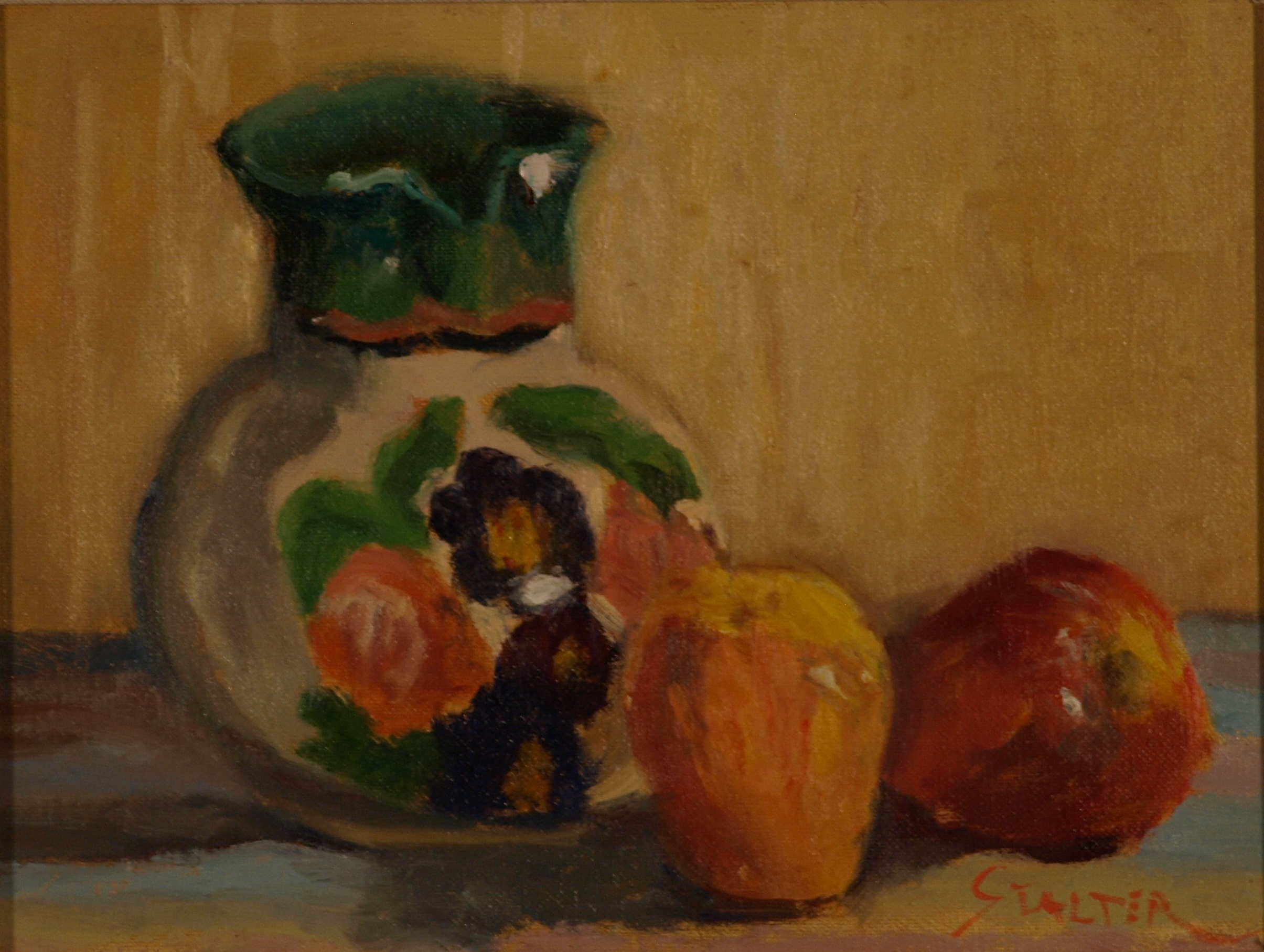 Still Life - Flowered Pitcher, Oil on Canvas on Panel, 9 x 12 Inches, by Richard Stalter, $225