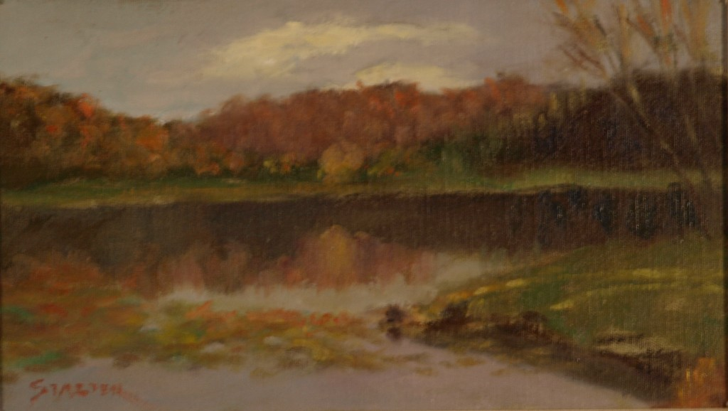 Lake Near Blowing Rock North Carolina, Oil on Canvas on Panel, 8 x 14 Inches, by Richard Stalter, $225