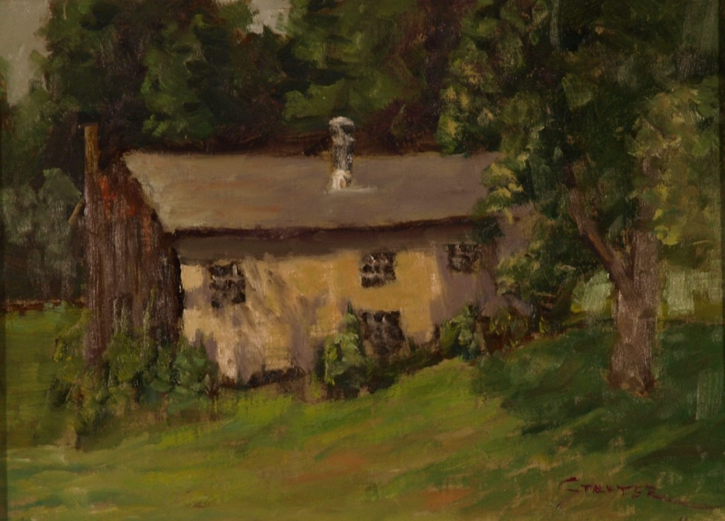 Chicken House - Sunny Day, Oil on Canvas on Panel, 9 x 12 Inches, by Richard Stalter, $225