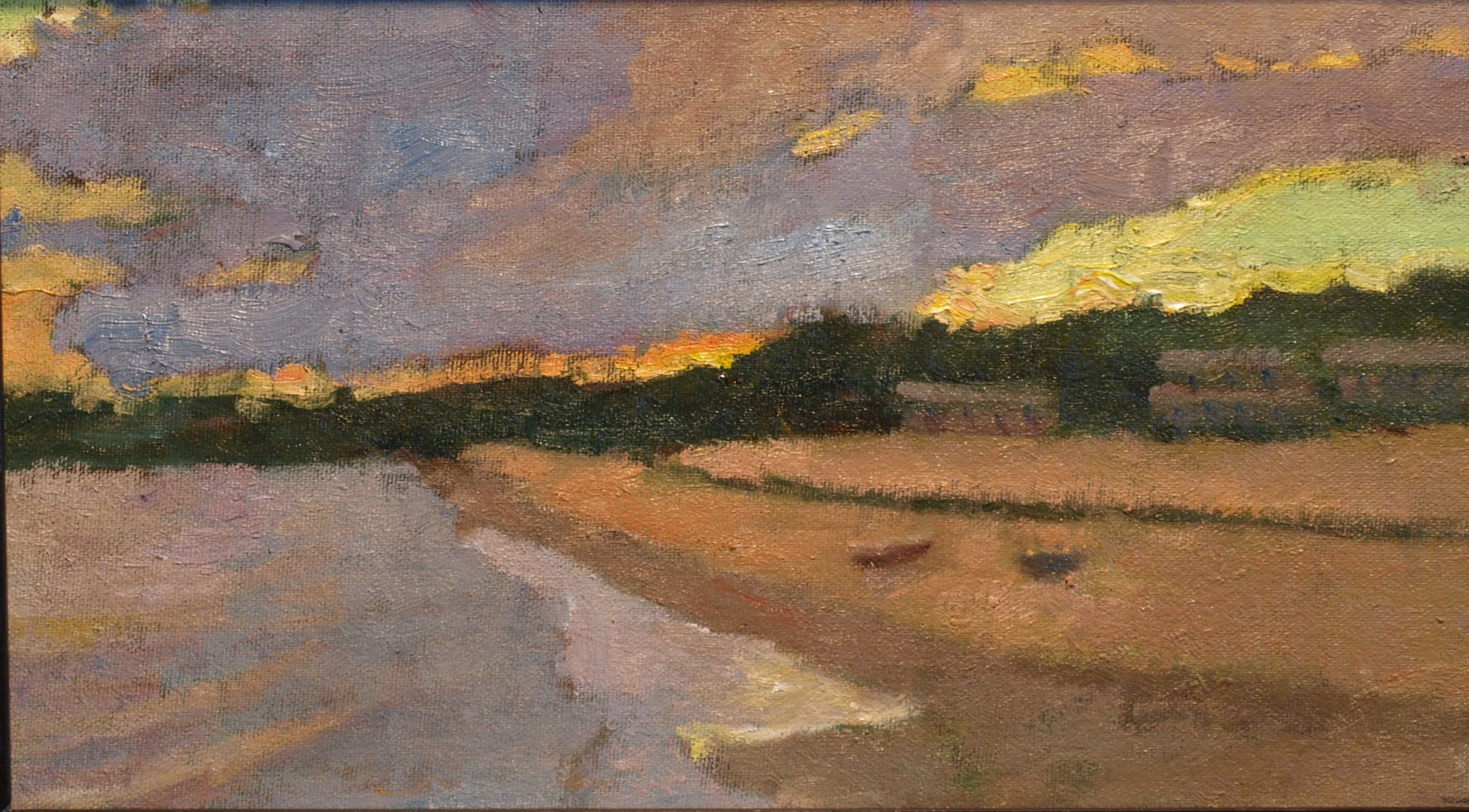 Provincetown Shoreline, Oil on Canvas on Panel, 8 x 14 Inches, by Richard Stalter, $300