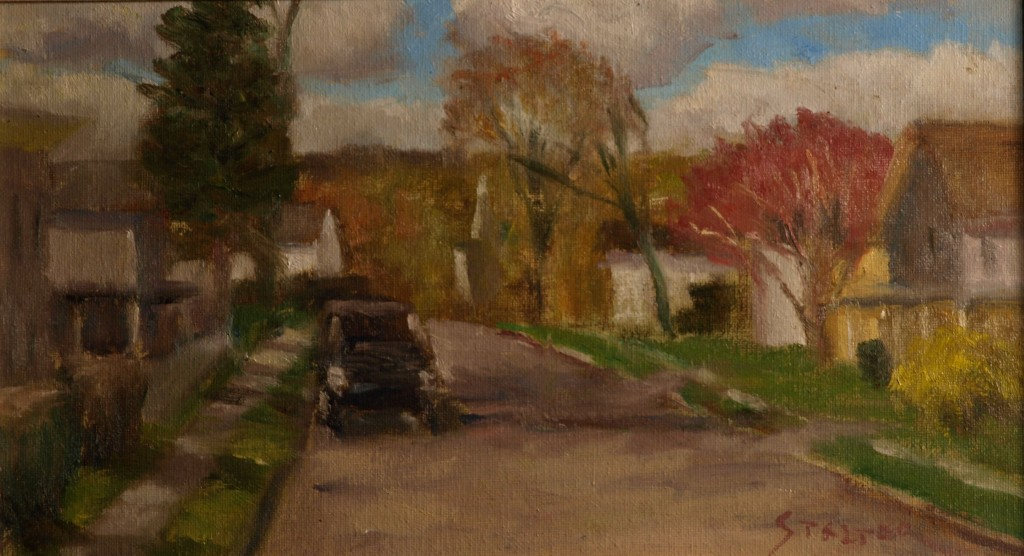 Autumn South Main Street, Oil on Canvas on Panel, 8 x 14 Inches, by Richard Stalter, $225