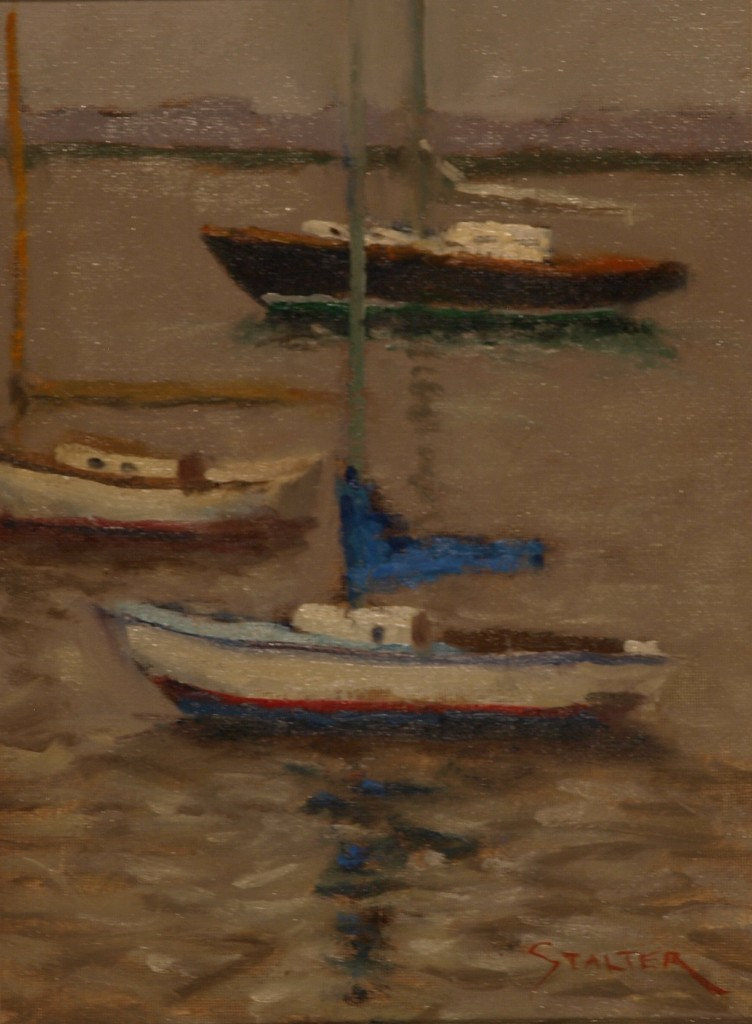 Three Sailboats, Oil on Canvas on Panel, 12 x 9 Inches, by Richard Stalter, $225