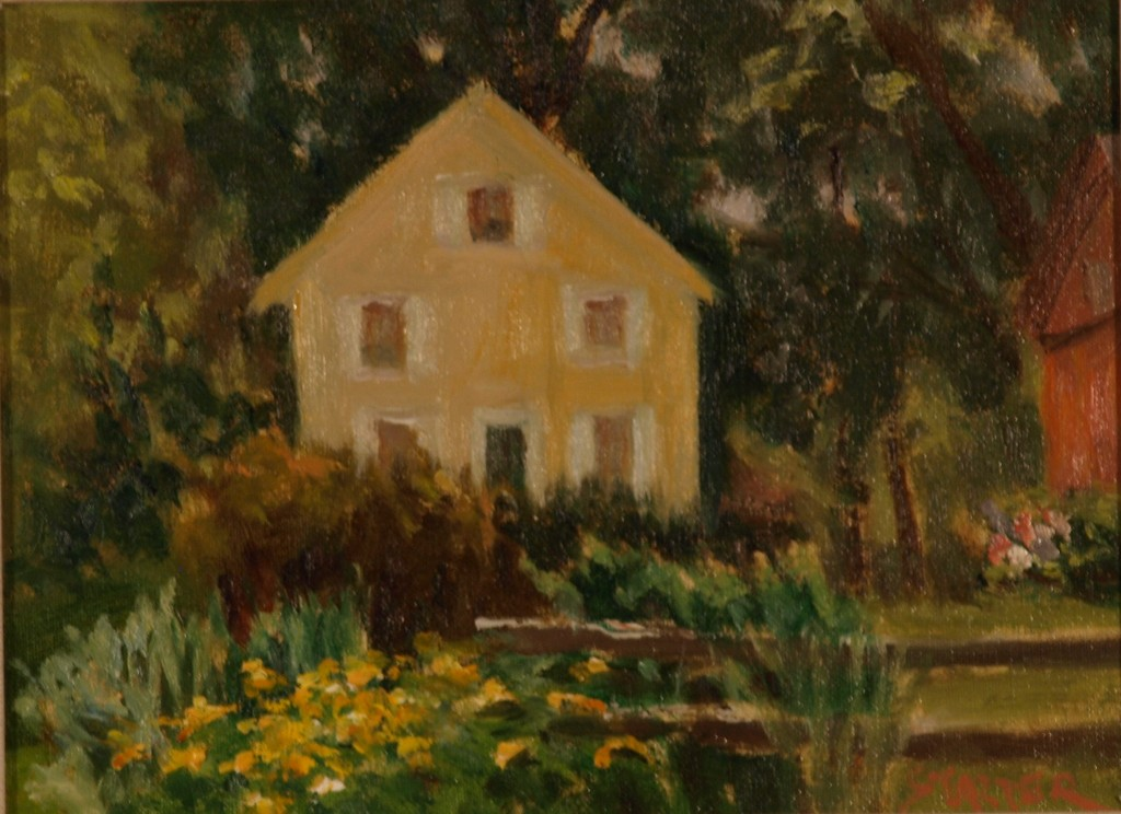 Sue's Garden, Oil on Canvas on Panel, 9 x 12 Inches, by Richard Stalter, $225
