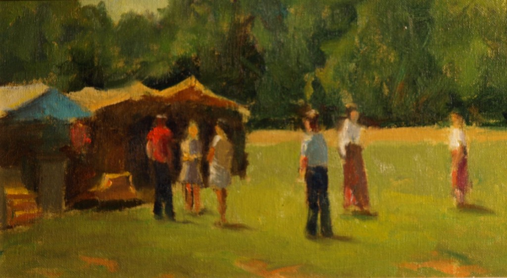 At the Church Fair, Oil on Canvas on Panel, 8 x 14 Inches, by Richard Stalter, $225