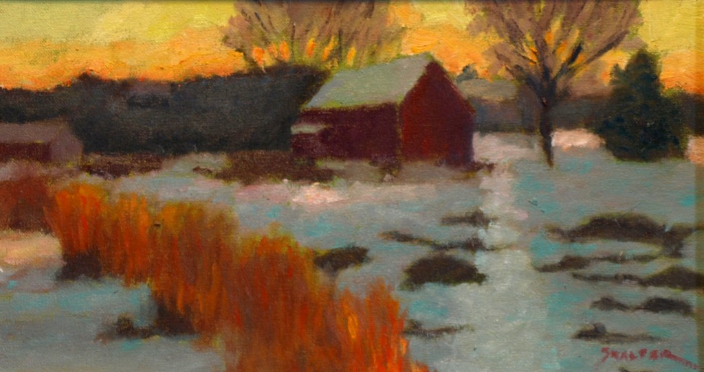 Winter Sunset, Oil on Canvas on Panel, 8 x 14 Inches, by Richard Stalter, $300