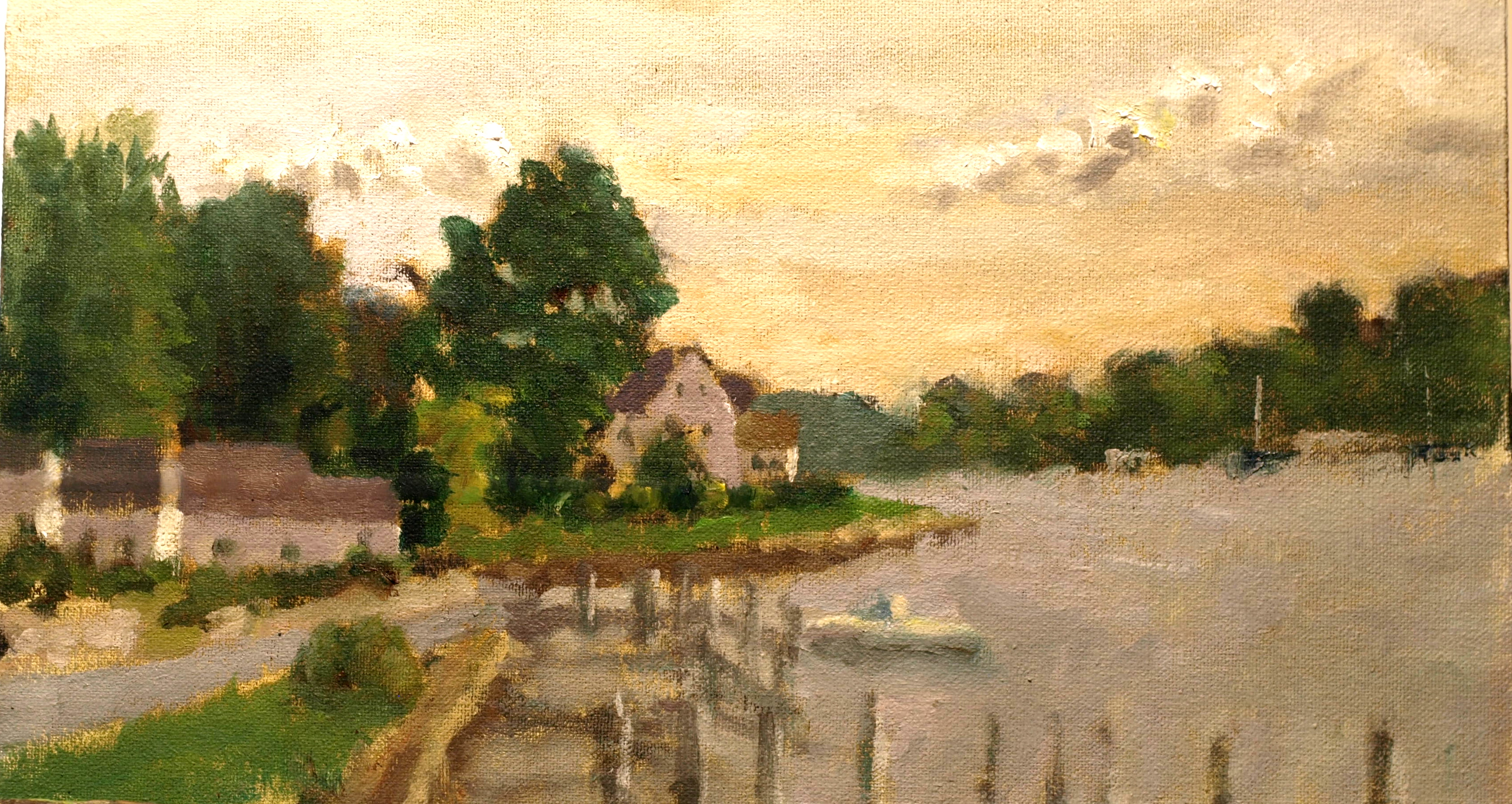 Afternoon Along the Mystic River, Oil on Canvas on Panel, 8 x 14 Inches, by Richard Stalter, $220