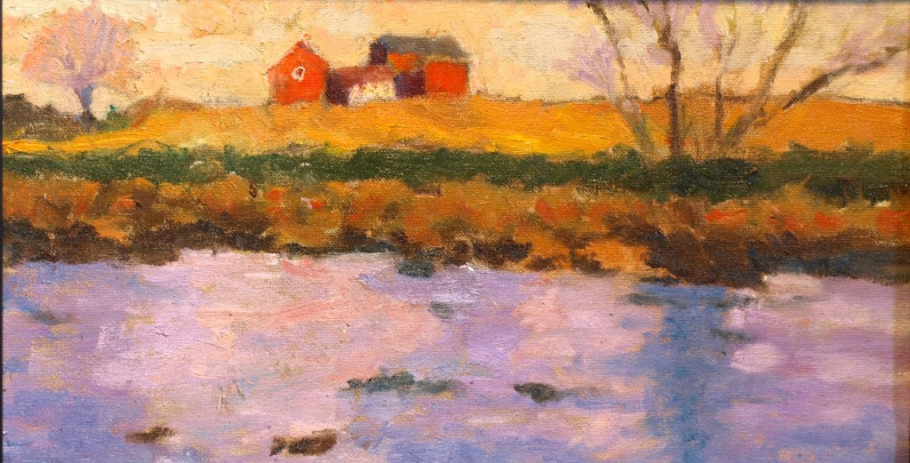 Shoreline Farm, Oil on Canvas on Panel, 8 x 14 Inches, by Richard Stalter, $300