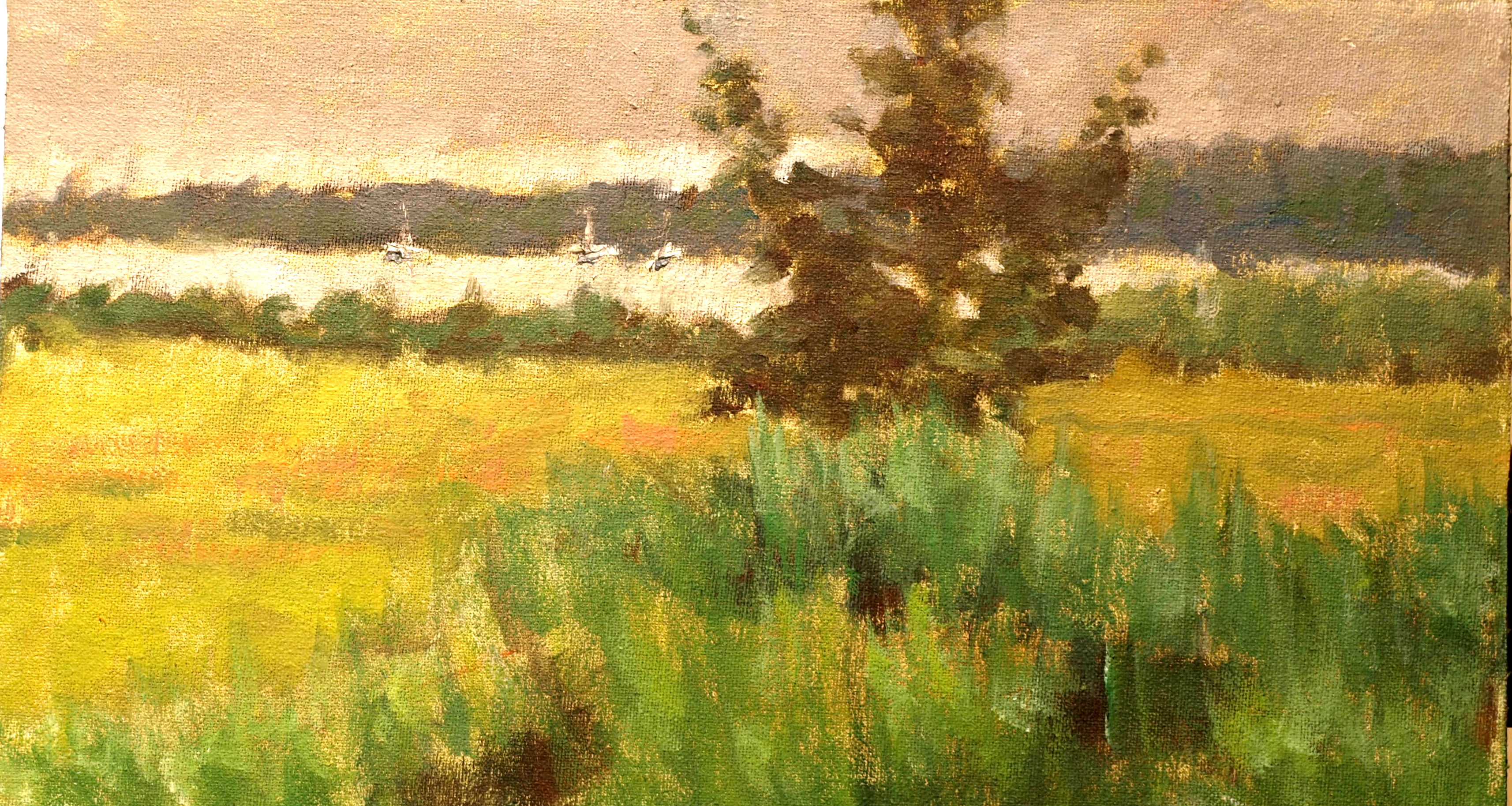 Masons Island Marsh in Summer, Oil on Canvas on Panel, 8 x 14 Inches, by Richard Stalter, $220