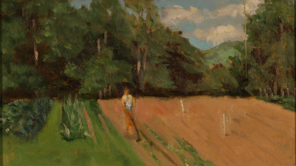 Megan's Farm, Oil on Canvas on Panel, 8 x 14 Inches, by Richard Stalter, $225