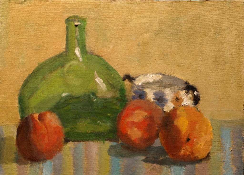 Peaches and Green Bottle, Oil on Canvas on Panel, 9 x 12 Inches, by Richard Stalter, $220