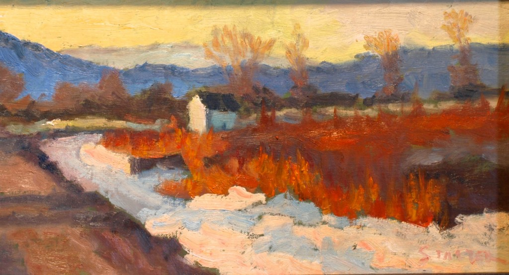 Brilliant Winter Day, Oil on Canvas on Panel, 8 x 14 Inches, by Richard Stalter, $220