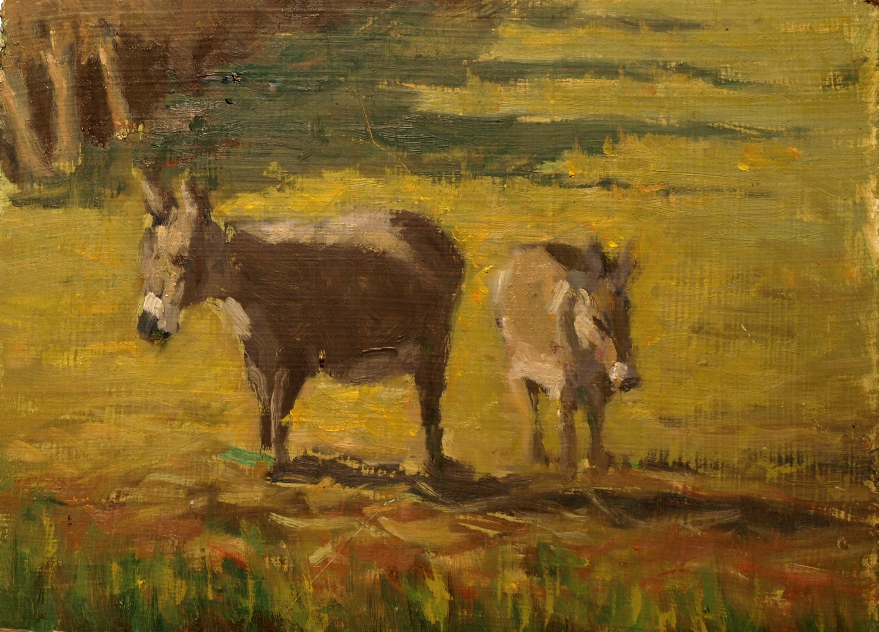 Two Burrows, Oil on Canvas on Panel, 9 x 12 Inches, by Richard Stalter, $220