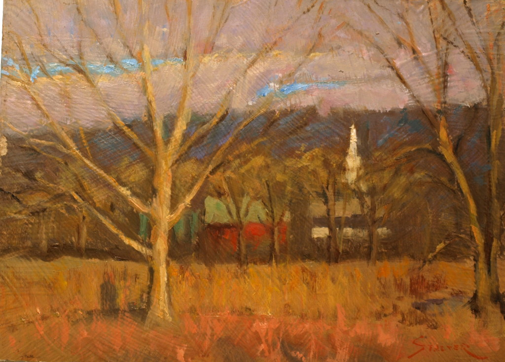 Late Autumn in Gaylordsville, Oil on Canvas on Panel, 9 x 12 Inches, by Richard Stalter, $220