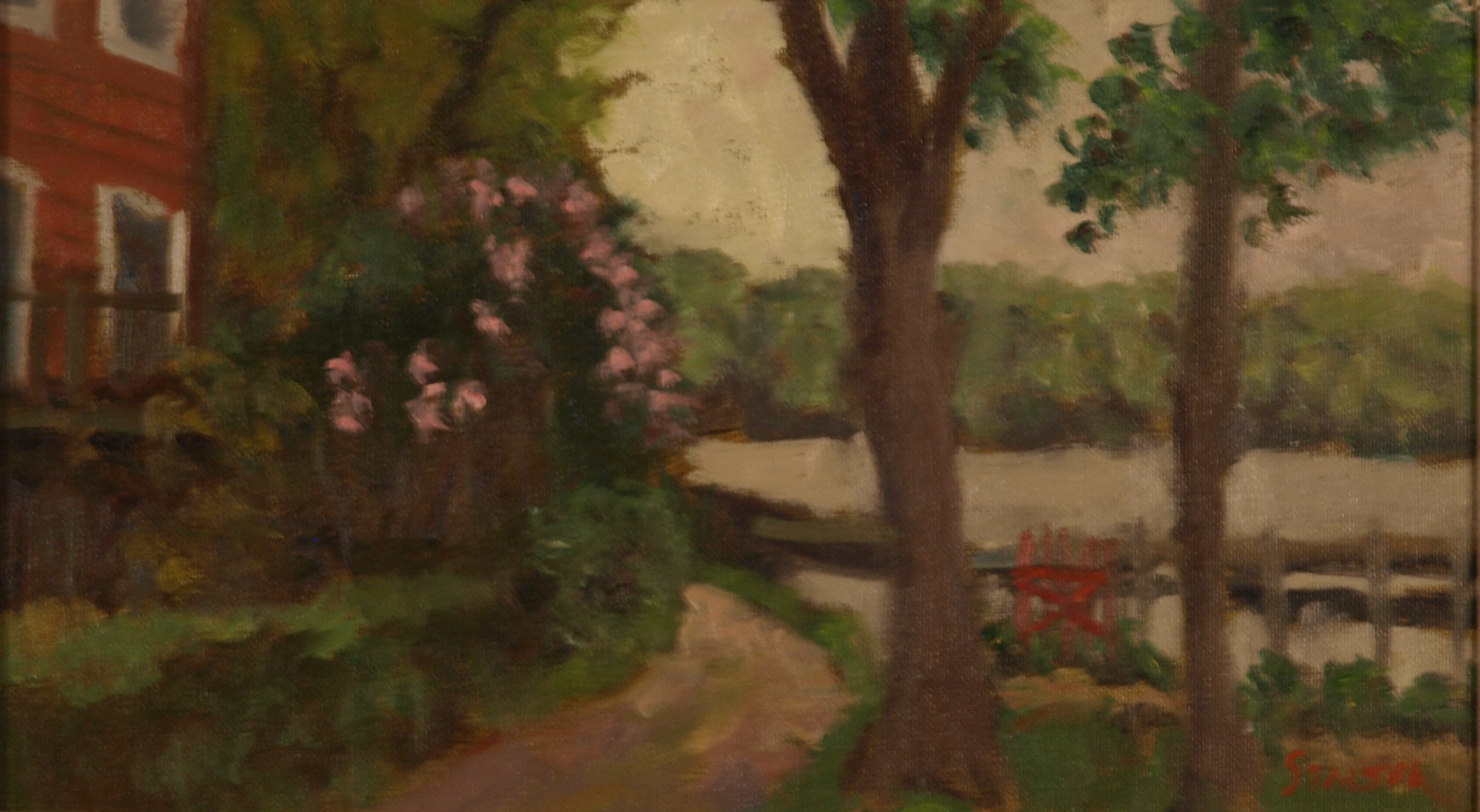 Lilacs - Garrison New York, Oil on Canvas on Panel, 8 x 14 Inches, by Richard Stalter, $225