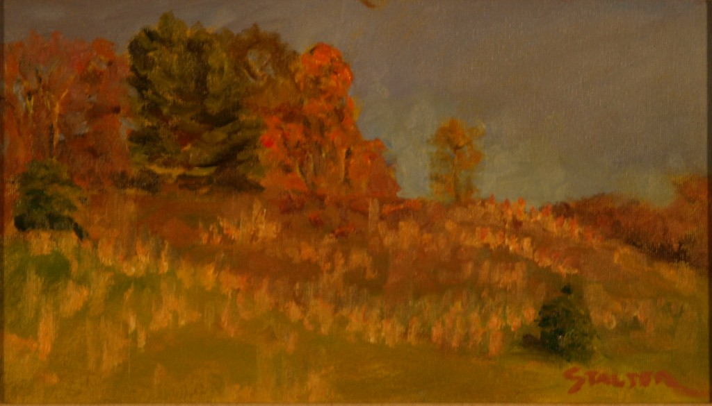 Autumn - Blowing Rock, Oil on Canvas on Panel, 8 x 14 Inches, by Richard Stalter, $225