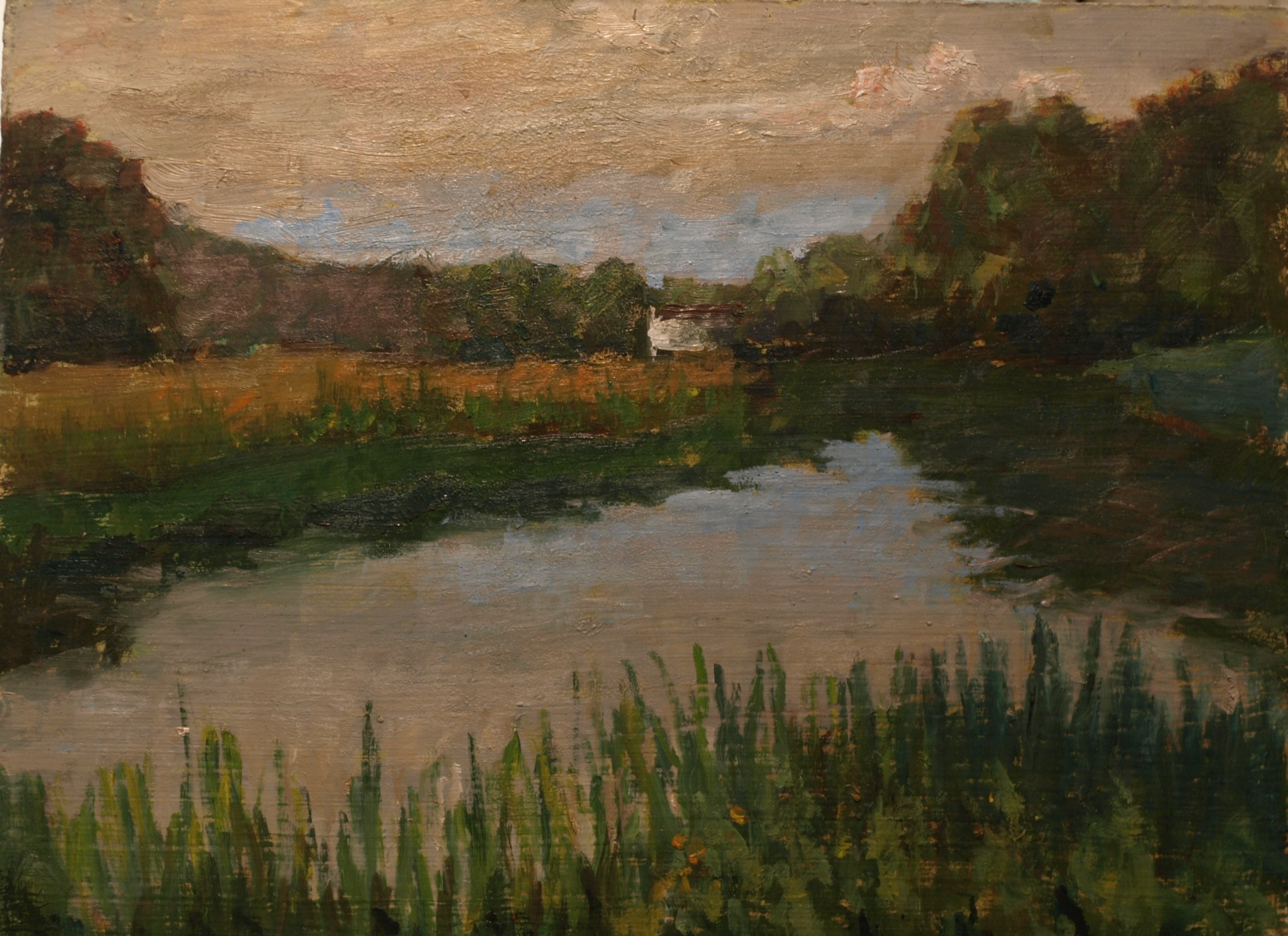 Summer Afternoon by the River, Oil on Canvas on Panel, 9 x 12 Inches, by Richard Stalter, $220