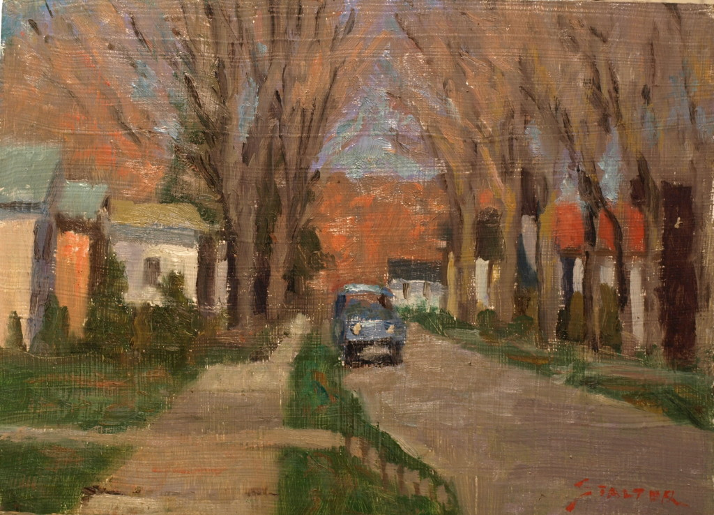Autumn South Main Street, Oil on Canvas on Panel, 9 x 12 Inches, by Richard Stalter, $220