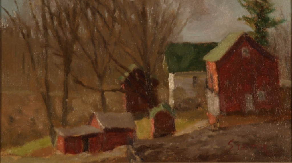 Early Spring - Hipp Farm, Oil on Canvas on Panel, 8 x 14 Inches, by Richard Stalter, $225