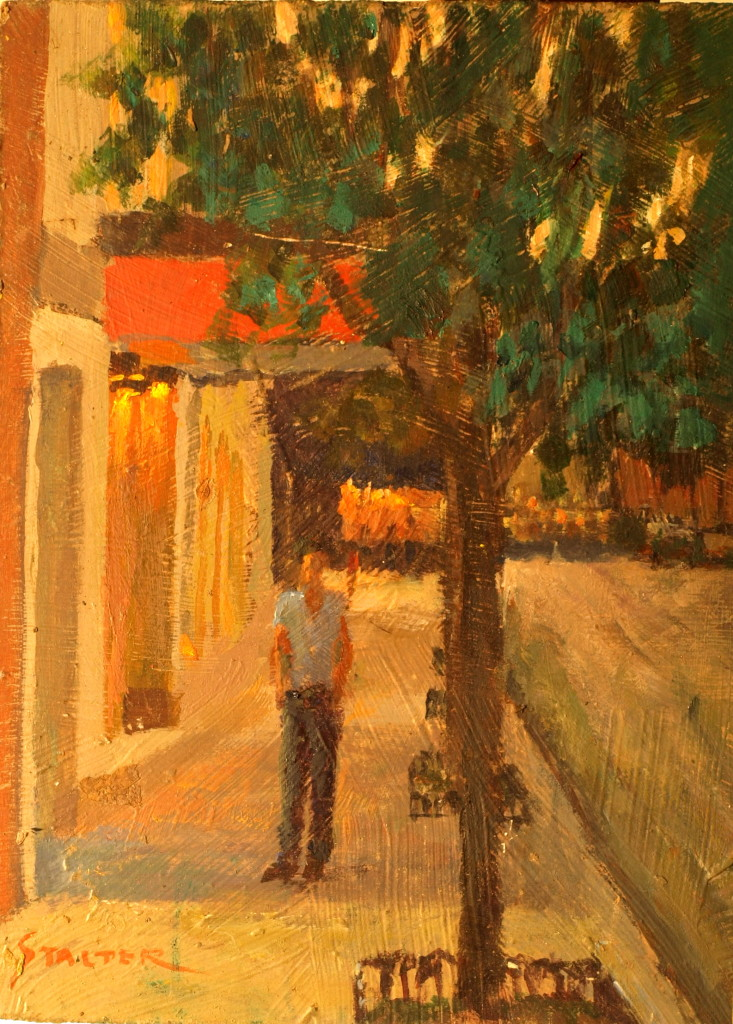 Strolling in Mystic, Oil on Canvas on Panel, 12 x 9 Inches, by Richard Stalter, $220