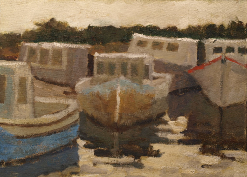 Busy Day Stonington Harbor, Oil on Canvas on Panel, 9 x 12 Inches, by Richard Stalter, $220
