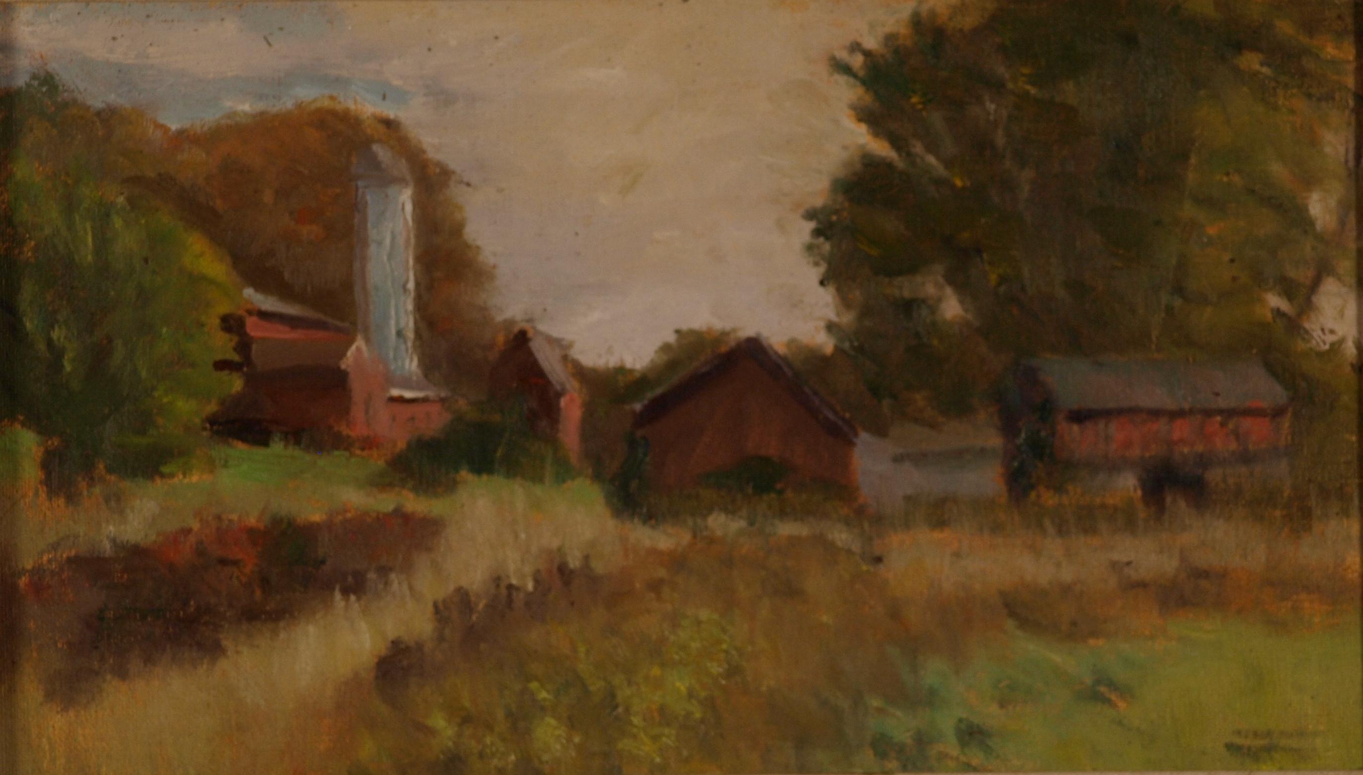 Autumn - Osbourne Farm, Oil on Canvas on Panel, 8 x 14 Inches, by Richard Stalter, $225
