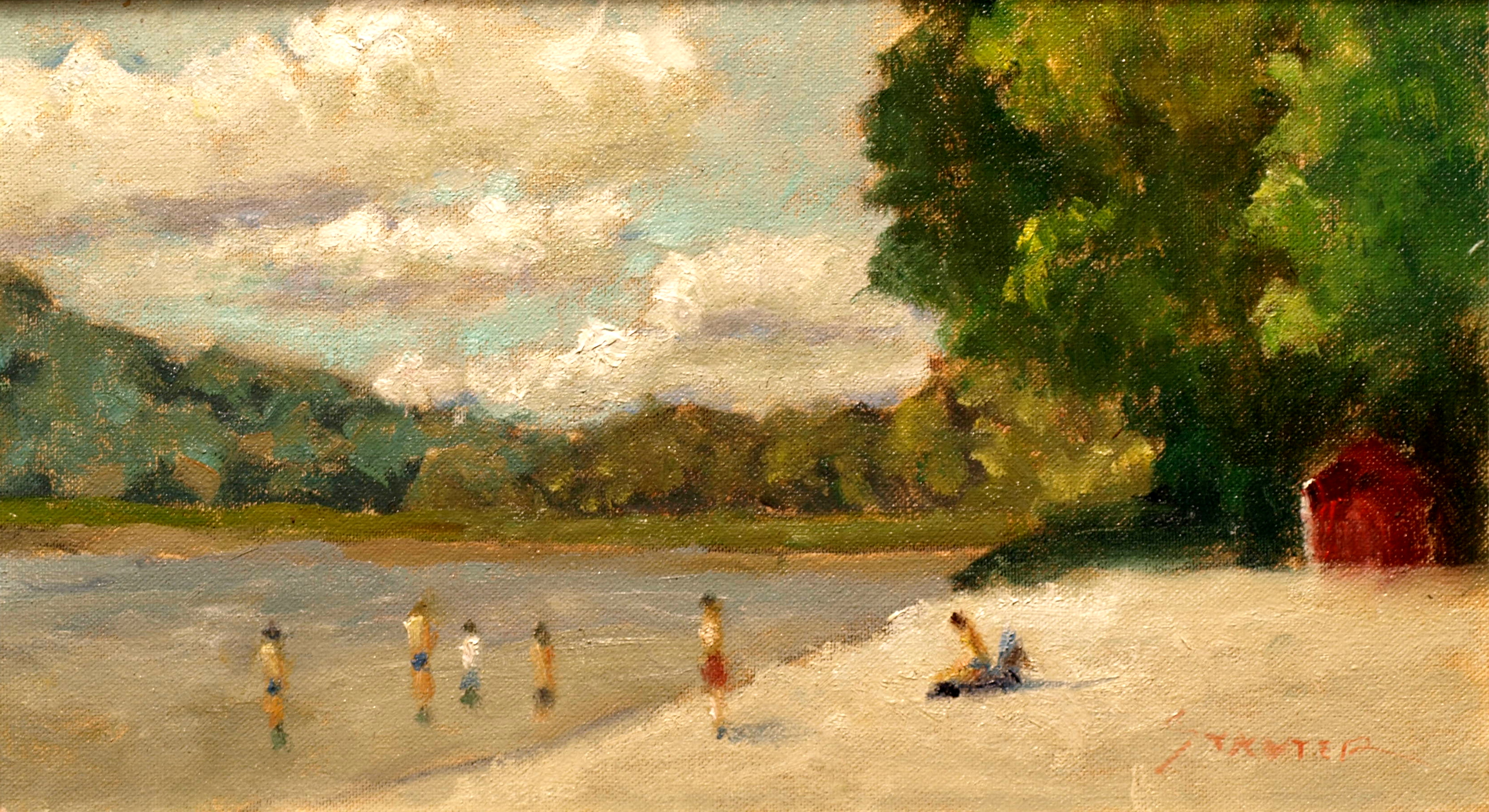 Swimmers at the Town Park, Oil on Canvas on Panel, 8 x 14 Inches, by Richard Stalter, $220