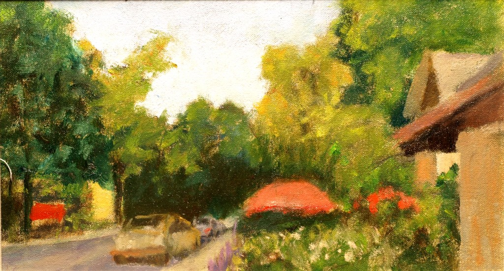 Red Umbrellas - Kent, Oil on Canvas on Panel, 8 x 14 Inches, by Richard Stalter, $220