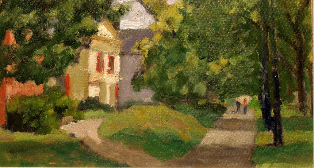 Midsummer in New Milford, Oil on Canvas on Panel, 8 x 14 Inches, by Richard Stalter, $220