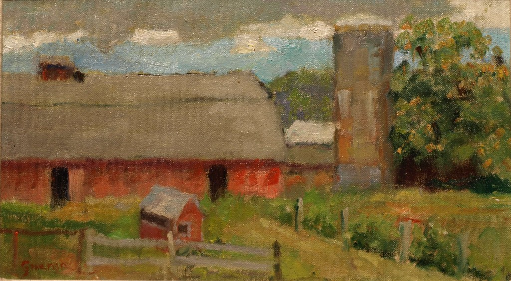 Curtis Road Farm, Oil on Canvas on Panel, 8 x 14 Inches, by Richard Stalter, $220