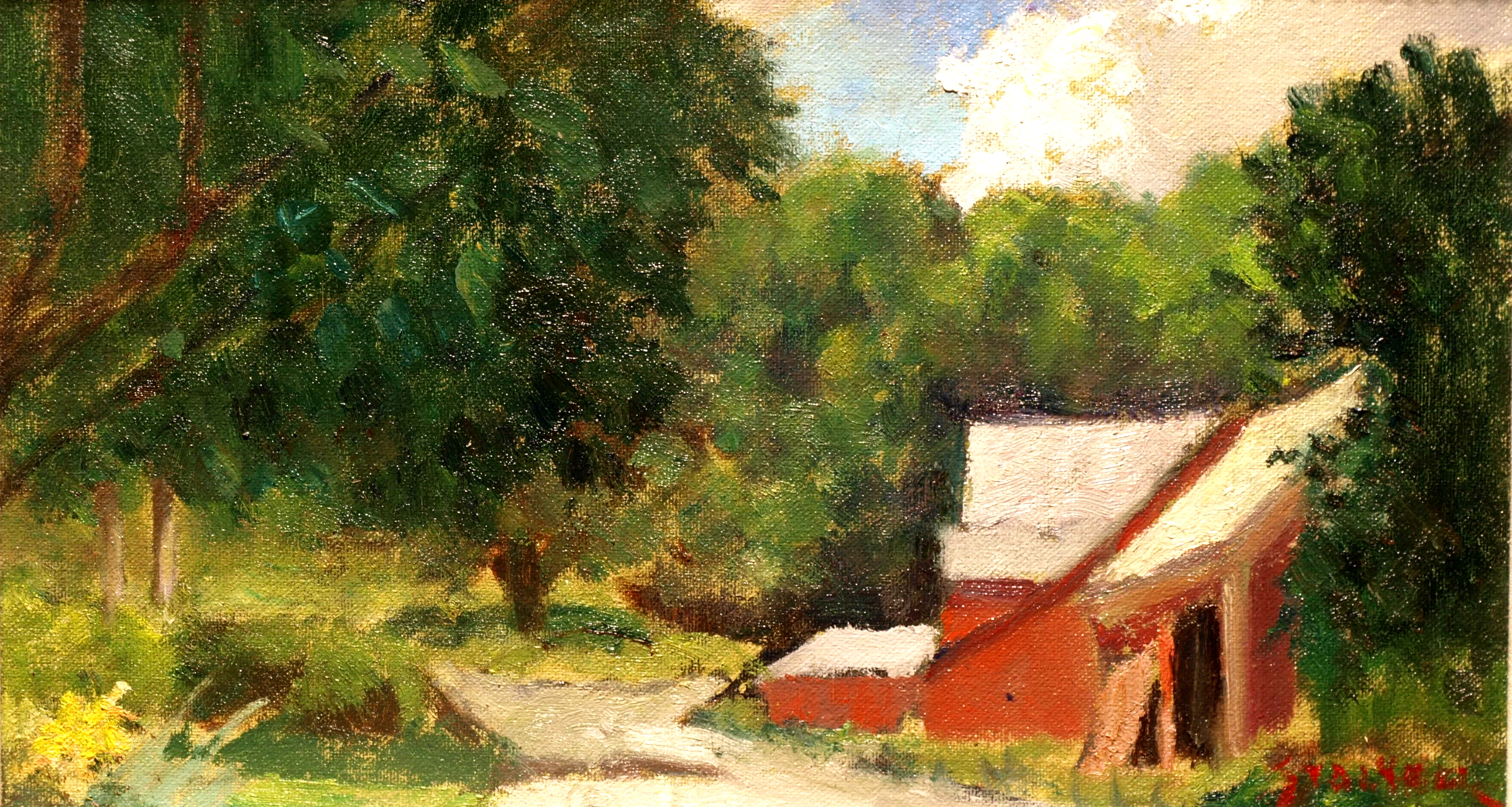 Along Newton Road, Oil on Canvas on Panel, 8 x 14 Inches, by Richard Stalter, $220