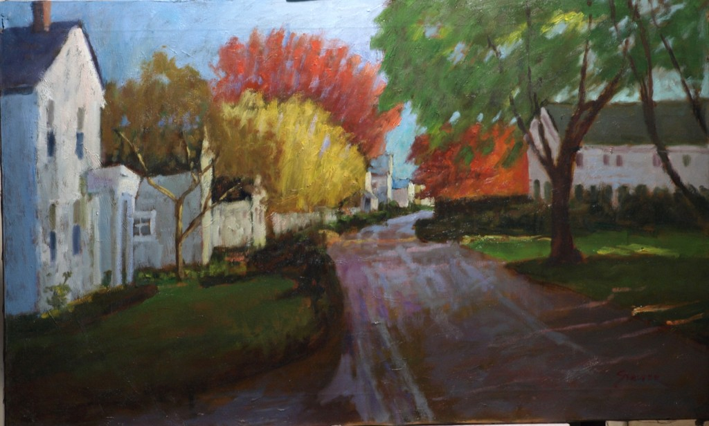 Autumn - Noank, Oil on Canvas, 22 x 36 Inches, by Richard Stalter, $1000