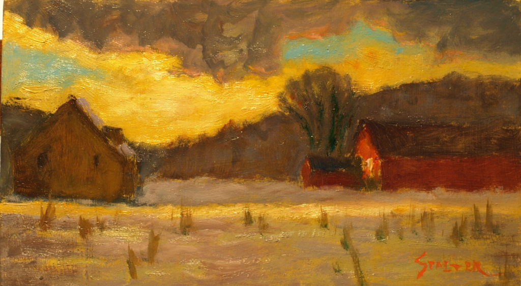 Dispersing Storm Clouds, Oil on Canvas on Panel, 8 x 14 Inches, by Richard Stalter, $225
